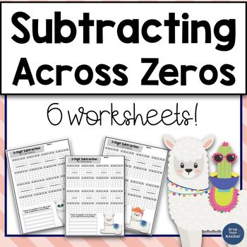 Subtracting across zeros worksheets by Drop Your Anchor TpT
