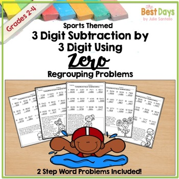 Subtraction Across Zero 3 Digit Pages Sports Theme with 2-Step Problems