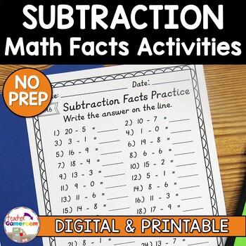 Subtraction Facts Worksheet Set by Teacher Gameroom TpT
