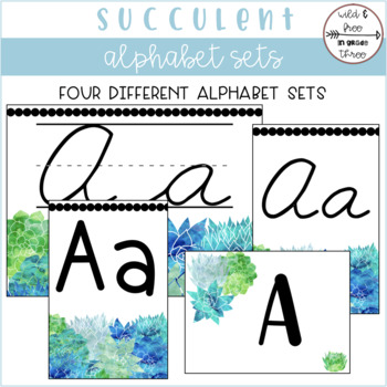 Succulent Alphabets (4 Banner and Word Wall Sets) TpT - word alphabets