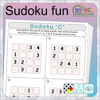 Sudoku fun (6 Numeracy sheets) by Bounce Learning Kids TpT