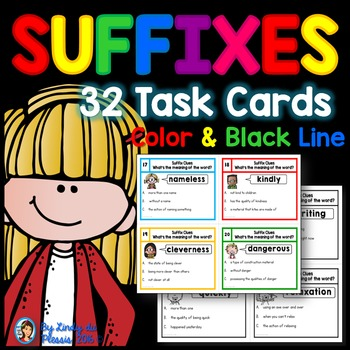 Suffixes Task Cards - What\u0027s the meaning of the word? by Lindy du