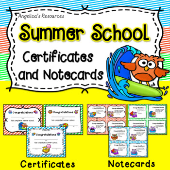 End of the Year Awards Summer School Certificates and Notecards