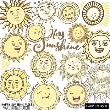 Sunshine ClipArt, Cheerful Smiling Sun, Printable Classroom Decor