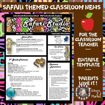 Classroom Newsletter- Safari Theme- Editable with Ideas- Meet the