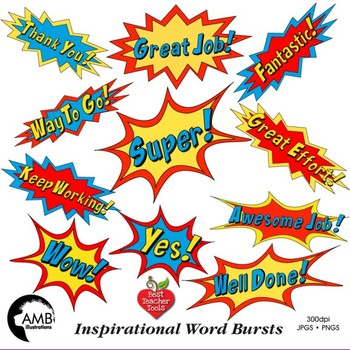 Superhero Callouts Clipart, Word Bursts, Inspirational Words, AMB-2018