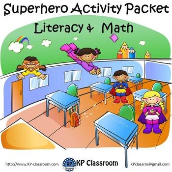 Superhero No Prep Literacy and Math Activity Packet Printable