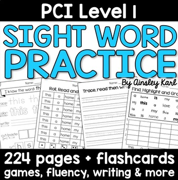 Special Education - Reading Practice Worksheets for PCI Level 1