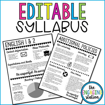 Syllabus Template 2 by The Engaging Station Teachers Pay Teachers - syllabus template