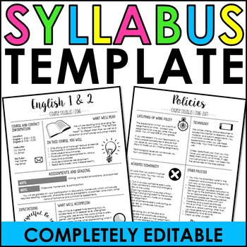 Syllabus Template by The Engaging Station Teachers Pay Teachers - syllabus template