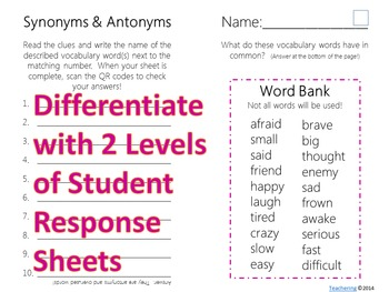 Synonym & Antonym Task Cards with QR codes FREE by Teachering   TpT