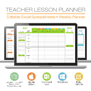 LESSON PLAN TEMPLATE - TEACHER - Digital for Microsoft Excel Windows - lesson plans excel