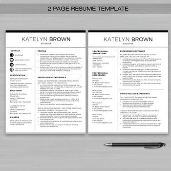 TEACHER RESUME Template For MS Word + Educator Resume Writing Guide - 2 page resume template