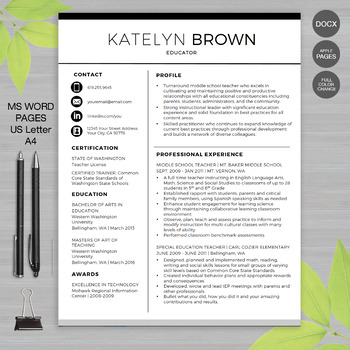 TEACHER RESUME Template For MS Word + Educator Resume Writing Guide - writing resume template