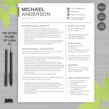 TEACHER RESUME Template For MS Word + Educator Resume