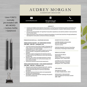 TEACHER RESUME Template For MS Word and Pages by WFO Creative