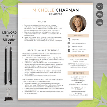Resume Template Teaching Resources Teachers Pay Teachers