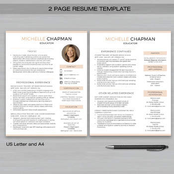 TEACHER RESUME Template with Photo For MS Word + Educator Resume - 2 page resume template