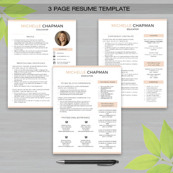 TEACHER RESUME Template with Photo For MS Word + Educator Resume - 3 page resume