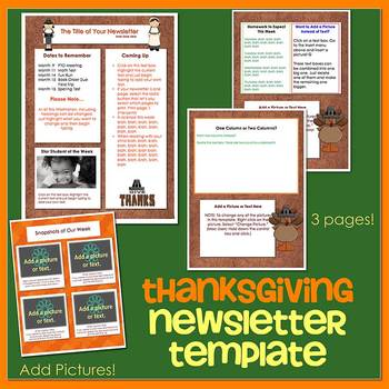 THANKSGIVING theme - Newsletter Template WORD by The Newsletter Store