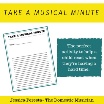 Take a Musical Minute timeout sheet by Jessica Peresta at The