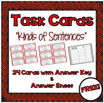 FREEBIE!!! Task Cards - \