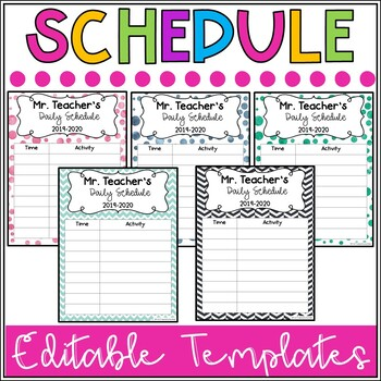 Daily Classroom Schedule Template (Editable - 6 Cute Design