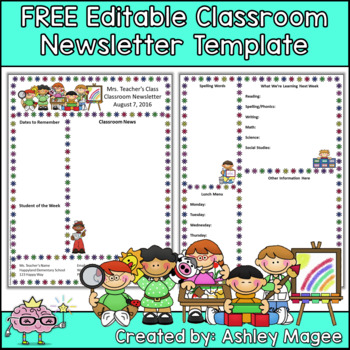 Free Editable Teacher Newsletter Template by Mrs Magee TpT - editable classroom newsletter