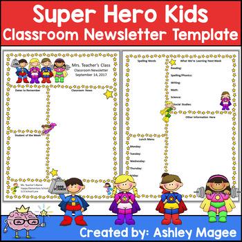Editable Teacher Newsletter Template - Super Hero Kids Theme by Mrs