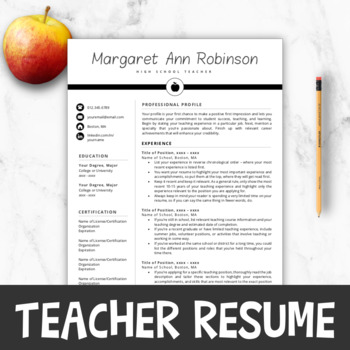 Teacher Resume Template For MS Word + Mac Pages Teacher Resume