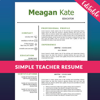 Editable Ms Word Teacher Resume Template Teaching Resources
