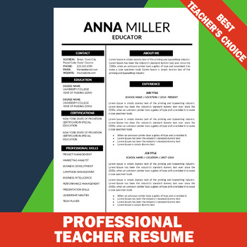 Modern Resume Template, Editable Resume, Elementary, Resume for