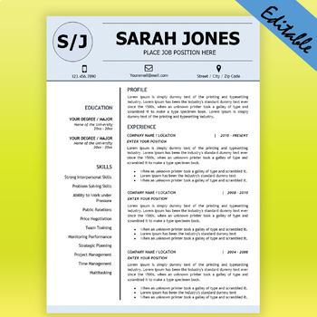 TEACHER RESUME Template for MS Word, Educator Resume DOCX, Elementary CV
