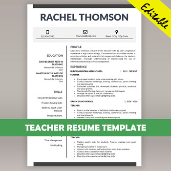 TEACHER RESUME Template for MS Word, Educator CV Download, Cover - template cv word