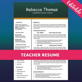 Teacher Resume Template for MS Word, Elementary CV Template