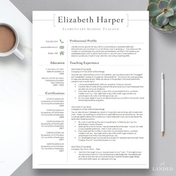 teacher resume template one page Worksheets  Teaching Resources TpT