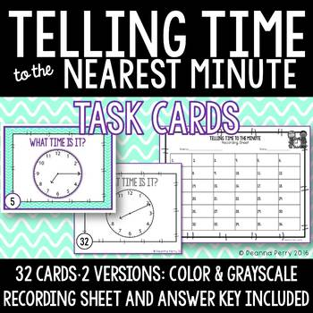 Telling Time to the Nearest Minute Task Cards by Deanna Perry TpT