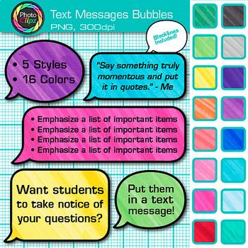 Text Message Speech Bubble Clip Art {Design ELA Lessons for Reading - cool text message art