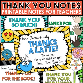 Thank-You Notes from Teachers to Students or Families TpT