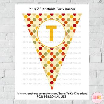 Thanksgiving Party Bunting, Banners Printable TeKa Kinderland TpT