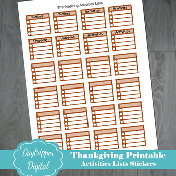 Thanksgiving Printable Activities List Stickers for Planners TpT