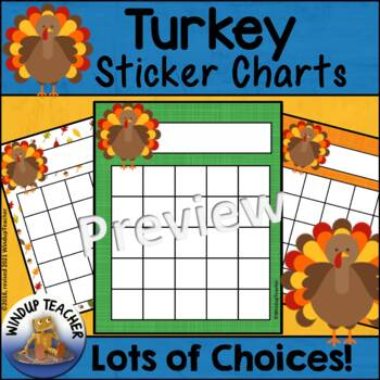 Thanksgiving Turkey Incentive Reward Sticker Charts by Windup Teacher