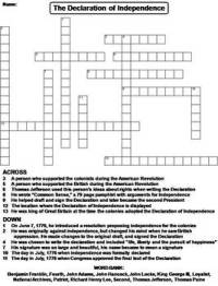 The Declaration of Independence Worksheet/ Crossword ...