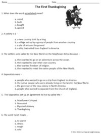 The First Thanksgiving Reading Comprehension Passage and ...