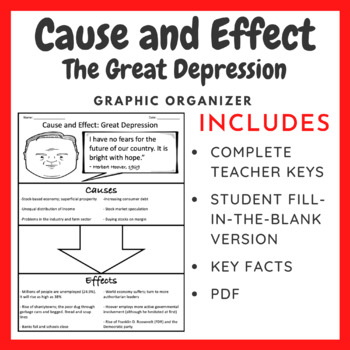 The Great Depression Cause and Effect Graphic Organizer by William