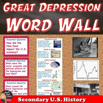 The Great Depression Vocabulary WORD WALL Posters (USHistory) TpT