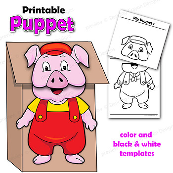 Three Little Pigs Craft Activitiy Printable Puppet Templates TpT