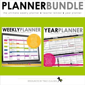 Teacher Planner Templates EDITABLE  Year Plan BUNDLE - Excel