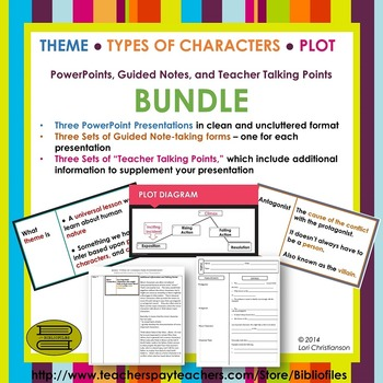 Theme, Types of Characters, Plot Structure PowerPoint + Notes