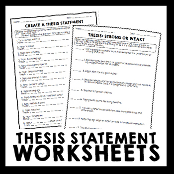 Thesis Statement Worksheet Packet  Printables by Erika Forth TpT